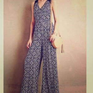Blue and white wide leg jumpsuit